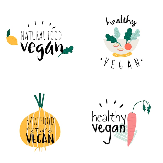Set of healthy vegan logo vectors Free Vector