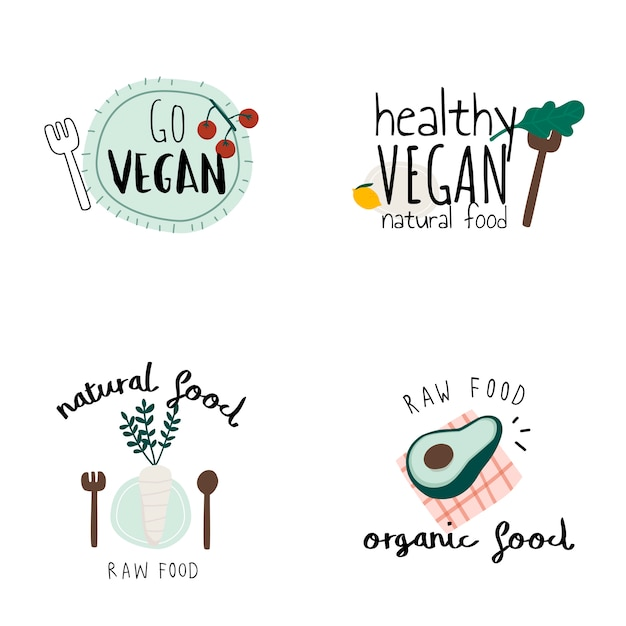 Set Of Healthy Vegan Logo Vectors Vector