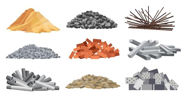 gạch, cát, sỏi, đá, cốt thép