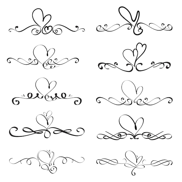 Set of heart decorative calligraphic elements for decoration. Premium Vector