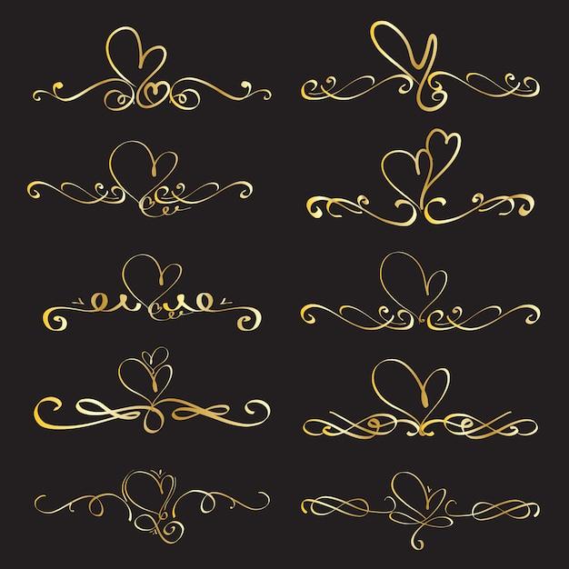 Set of heart decorative calligraphic elements for decoration. Premium Vector