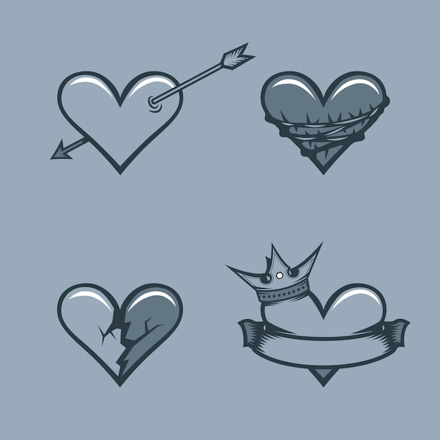 Set of hearts Premium Vector