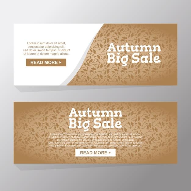 Set of hello autumn nature big sale banners Premium Vector