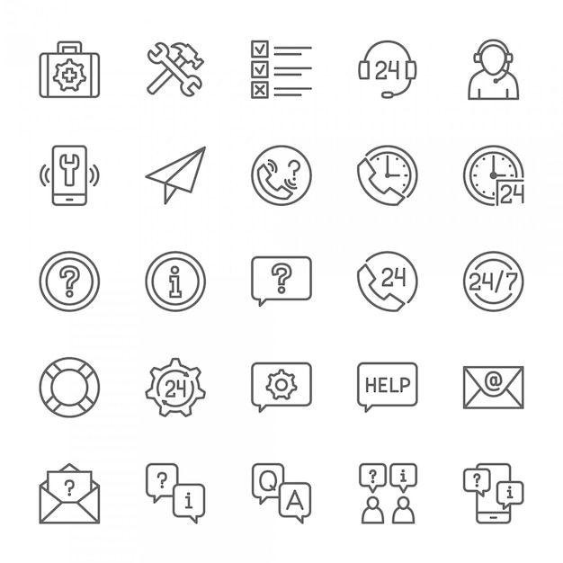 Set of help and support icons Premium Vector