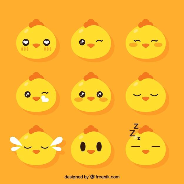 Set di emoticons gallina Vettore gratuito