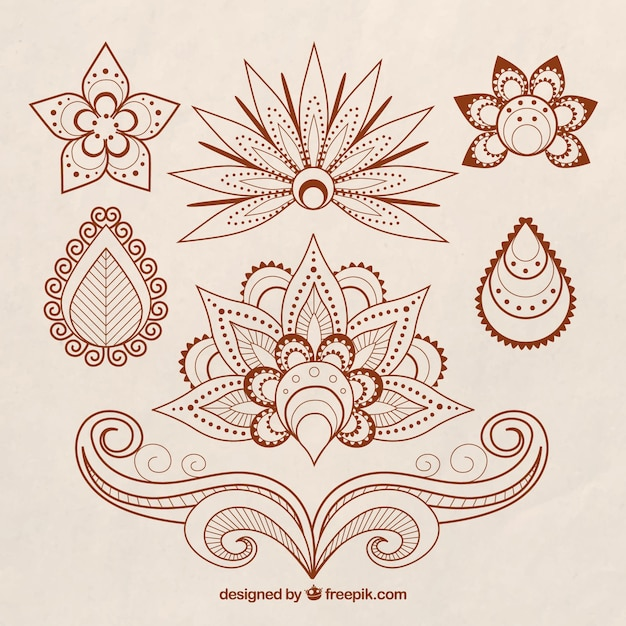 Set of henna tattoos, floral theme Free Vector
