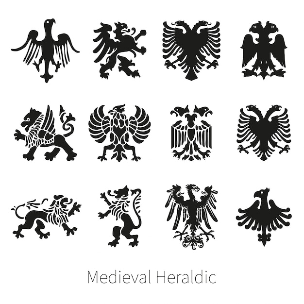 Set heraldic medieval vector lion, griffin and eagle Premium Vector