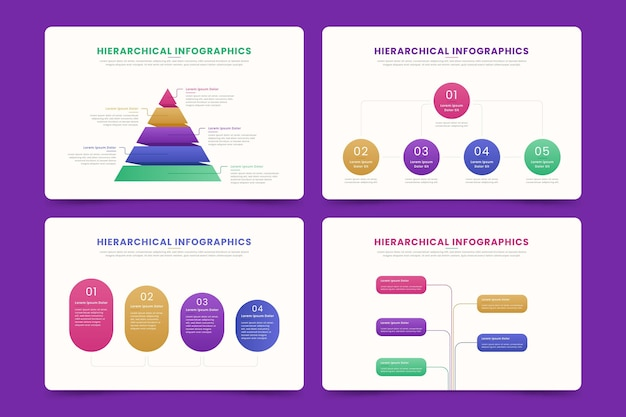 Set of hierarchical infographics Free Vector