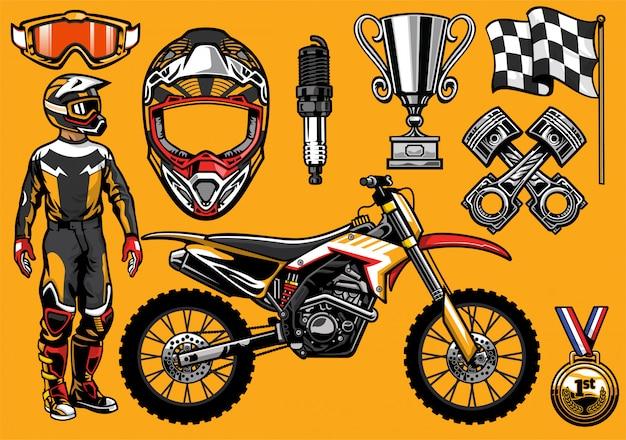 Set of high detailed motocross racing element Premium Vector