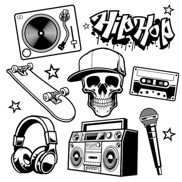 Set of hip hop culture objects Premium Vector