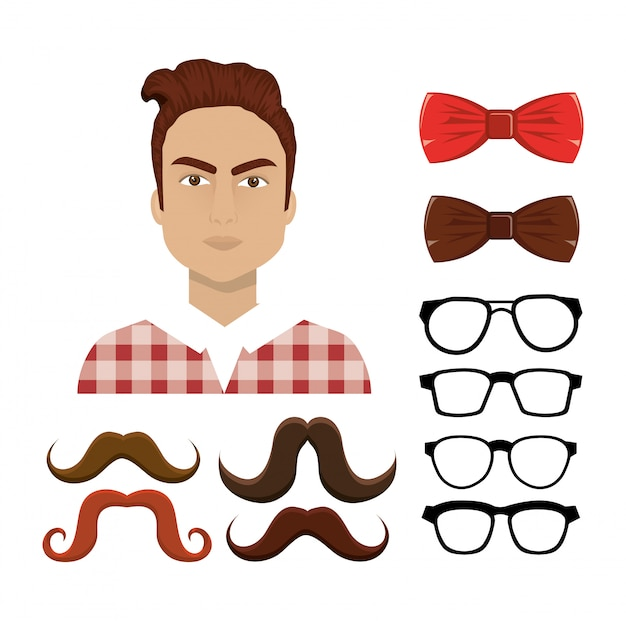 Set of hipster elements Free Vector