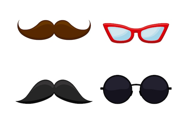 Set of hipster mustache with glasses Free Vector