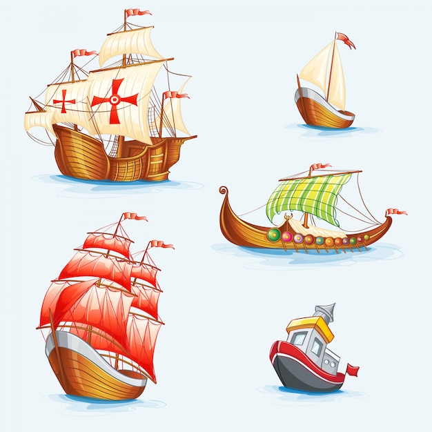 Set of historical ships Premium Vector
