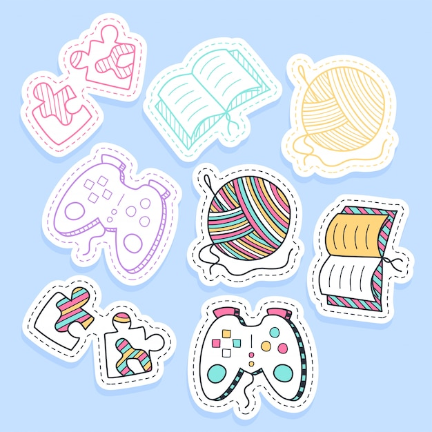 Set of hobby different element stickers handwritten collection in cartoon style. Premium Vector