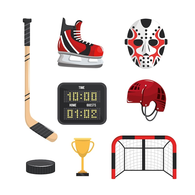Set hockey sport professional equipment Premium Vector