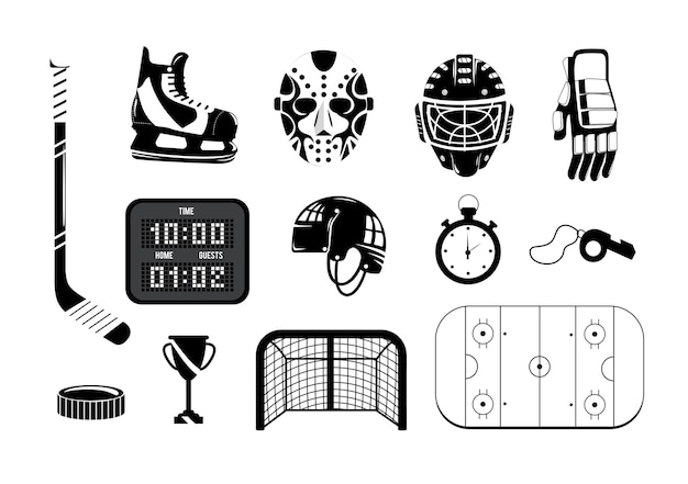 Set hockey with professional equipment to play Premium Vector
