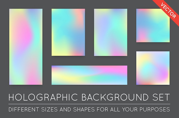 Set of holographic trendy backgrounds. Premium Vector