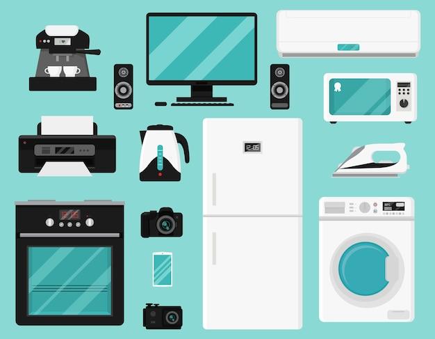 Set of home appliances. Premium Vector