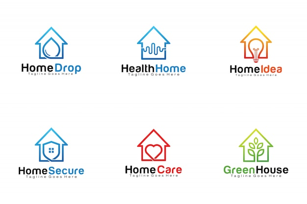 Set of home logos Premium Vector