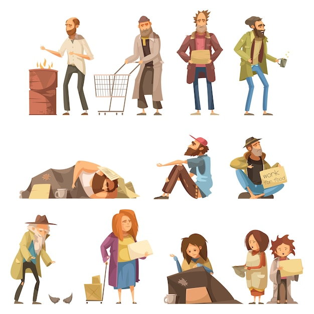 Set of homeless people including adults and kids begging money Free Vector