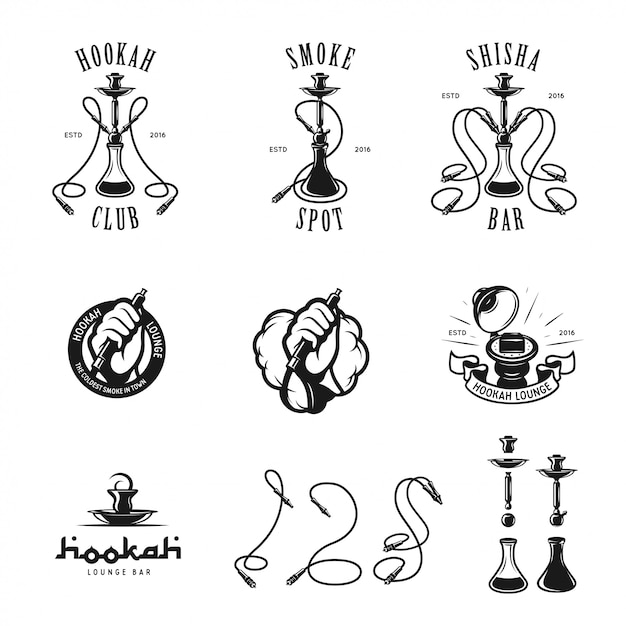 Set of hookah labels, badges and elements. Premium Vector