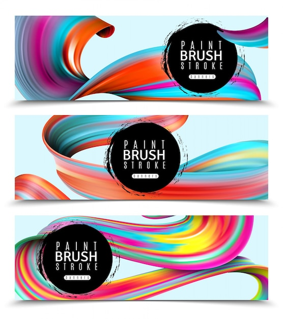 Set of horizontal banners brush strokes of vivid paints on light  isolated Free Vector