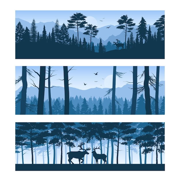 Set of horizontal banners realistic forest landscapes with deers and birds in sky isolated Free Vector