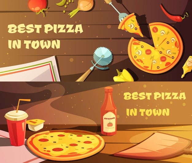 Set of horizontal banners for restaurant Free Vector