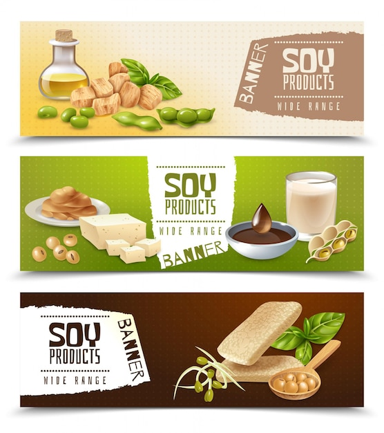 Set of horizontal banners with soy food products isolated on color Free Vector