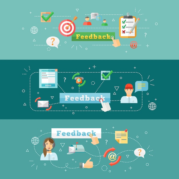 A set of horizontal computer mobile feedback  web infographic banners Free Vector