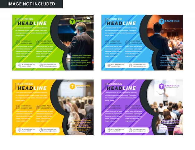 Set of horizontal flyer cover business brochure Premium Vector