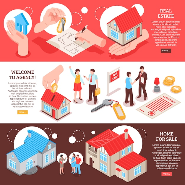 Set of horizontal isometric banner template real estate agency with homes for sale Free Vector