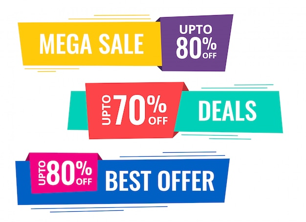Set of horizontal sale banners Free Vector