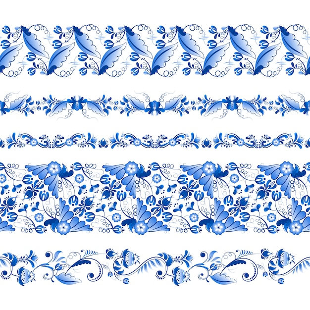 Set of horizontal seamless pattern in gzhel style Premium Vector