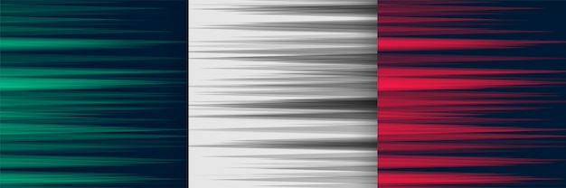 Set of horizontal speed lines background in three colors Free Vector
