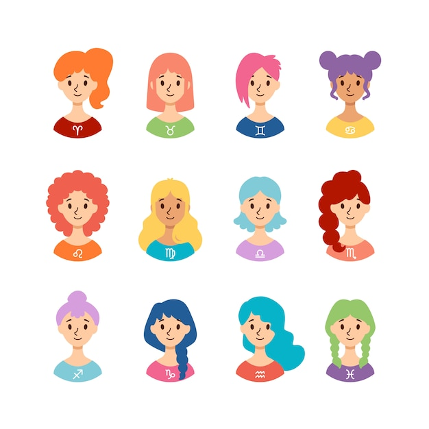 Set of horoscope signs as women. collection of zodiac signs. flat style. Premium Vector