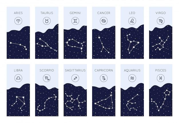 Set of horoscope symbols. zodiac constellations collection Premium Vector