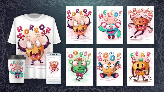 Set horror cute monster poster and merchandising Free Vector