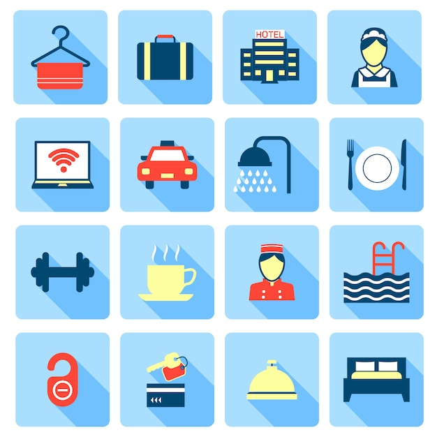 Set of hotel bed reception bath bed bell icons on colorful squares in flat color style Free Vector