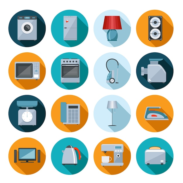 Set of household appliances flat icons on colorful round web buttons with a washing machine Free Vector