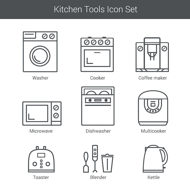 Set of household appliances vector icons: cooker, washer, blender, toaster, microwave, kettle Premium Vector