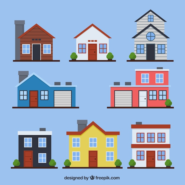 Flat Houses: Set Of Houses Facades In Flat Design Vector