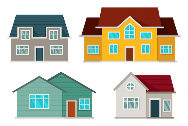 Set of houses front view Premium Vector