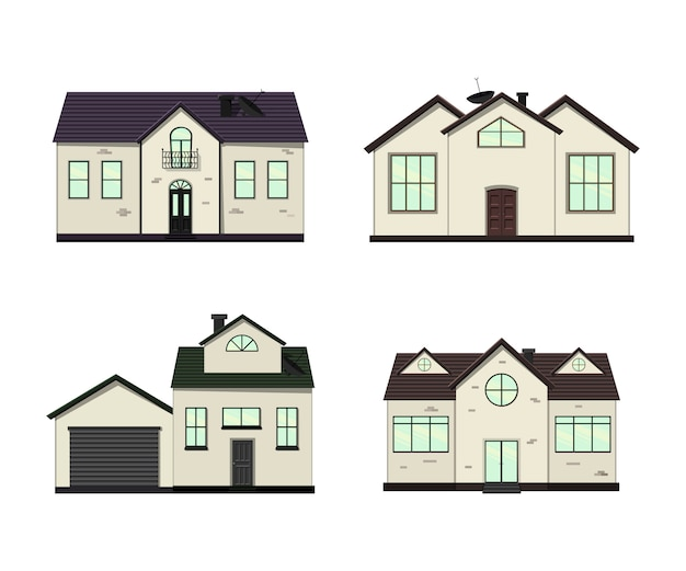 Premium Vector Set Of Houses Isolated For Construction And Design Cartoon Style Illustration