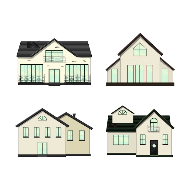 Premium Vector Set Of Houses On A White Background For Construction And Design Cartoon Style Illustration