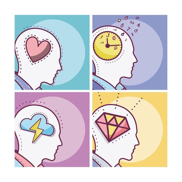 Set of human minds card Premium Vector