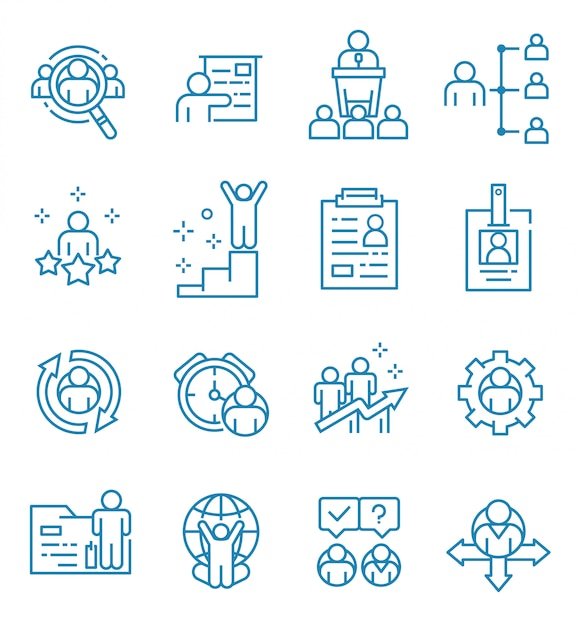 Set of human resources icons with outline style Premium Vector
