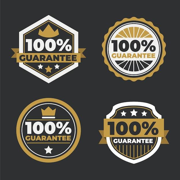 Set di etichette di garanzia al cento per cento Vettore gratuito