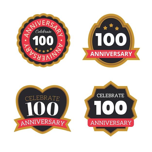 Set di distintivi di anniversario di cento anni Vettore gratuito