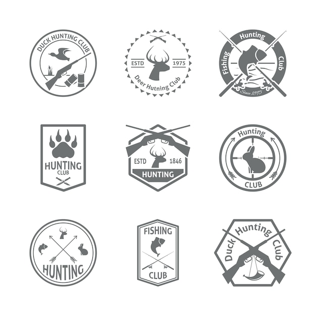 Set of hunting badges Free Vector